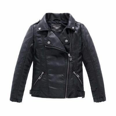 Boys Leather Jacket Casual Black Solid Children Outerwear Spring Leather Jackets