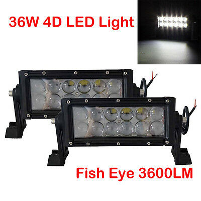 "2x 7"" inch 36W Spot LED Work Light Bar Fish Offroad Driving Truck Boat SUV 4WD"
