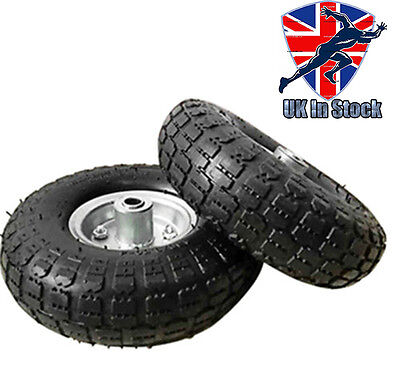 """2x Replacement 10""""Inch Tyre Pneumatic Sack Hand Truck Trolley Wheel Barrow Tyres"""