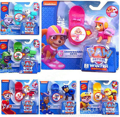 6pcs Paw Patrol Action Pack Pup dog backpack projectile Figures toys Boxed Gift