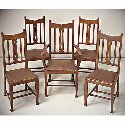 Dining Chairs - Oak, Arts & Crafts, C1900 (delivery available)