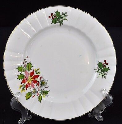 Royal Grafton, pattern RGR3, white with red poinsettias and holly, salad plate