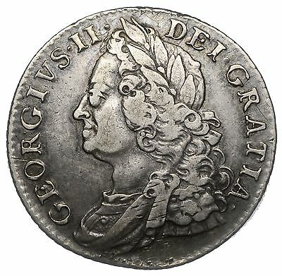 1758 Shilling - George Ii British Silver Coin - Nice