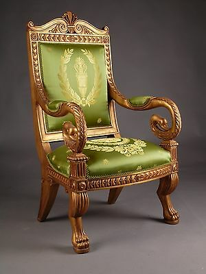 Empire Style Carved Swan's Head Throne Chair - Very Unique  Handmade