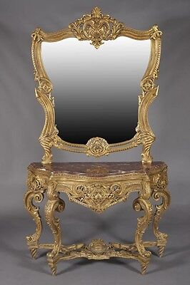 Mirrored Console with  Marble Top Empire Style after Francois Linke Handmad