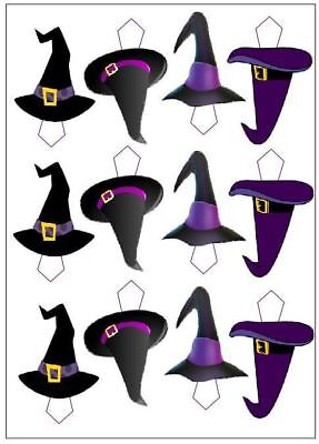12 Witches Hats Halloween Edible Cupcake Picks Decoration Cake Toppers Uncut
