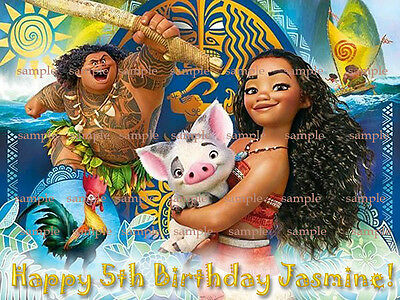 MOANA Personalized Edible Photo Birthday CAKE Topper ICING Image Decoration