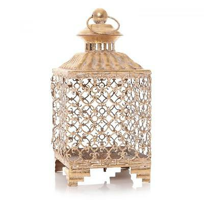 Moroccan Gold Hurricane Lantern Garden Glass Pillar Tealight Candle Holder 26cm