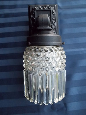 Beautiful Old Cast Iron Porch Light Sconce w/Heavy Glass Shade, Free S/H