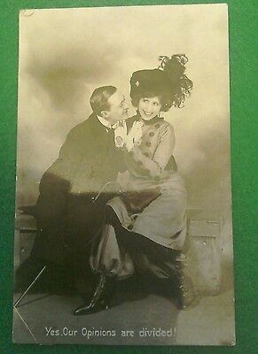 Real Photo Vintage Old Postcard 'opinions Divided' Lovers Cheeky Romantic Couple