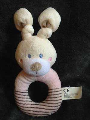 598-Peluche Doudou anneau hochet Lapin rose beige rayé grelot NICOTOY Comme neuf