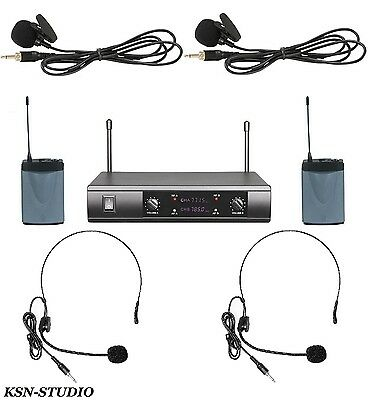 PRO UHF Dual Channels Wireless Cordless 2 Headset 2 Lapel Lavalier Microphone
