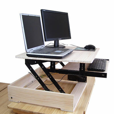 Height adjusting real wood Sit/Stand table Desk mount fr computer monitor stand