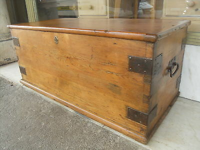 Large Georgian Antique Pine Blanket Box / Chest / Trunk