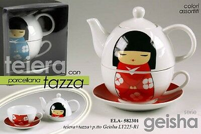 Teiera Con Tazza+Piatto In Porcellana Decoro Geisha Colori Assortiti Ela-582301