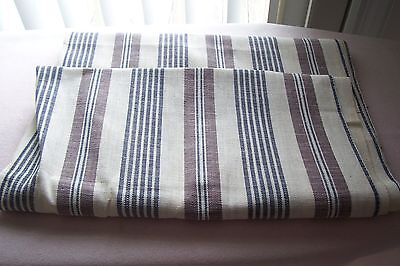 Vtg Antique Victorian Striped Ticking Fabric 2 yards +