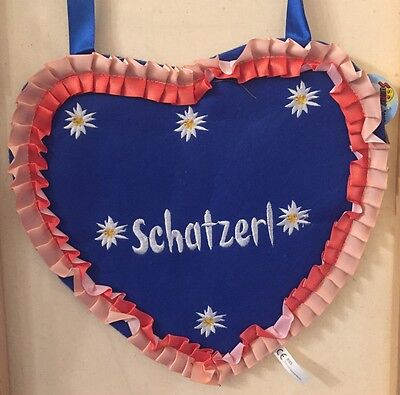 "German Bavarian Women's Cute Oktoberfest Heart Purse with Embroidery ""Schatzerl"""