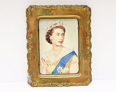 "Vintage Brass Picture Frame With a Print of The Queen of England 6.5"" x 5"""