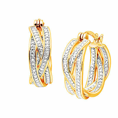 Braided Hoop Earring with Diamonds in 18K Gold-Plated Brass