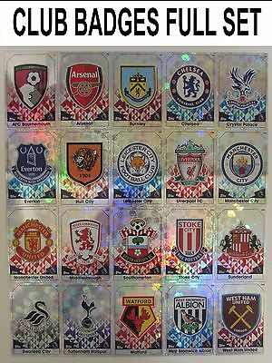 Match Attax 16/17 Club Badges Full Set ALL 20 2016/2017 Shiny Foil Team Crest