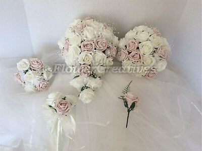 Wedding flowers bride bridesmaid bouquet wand groom buttonhole ivory crystals