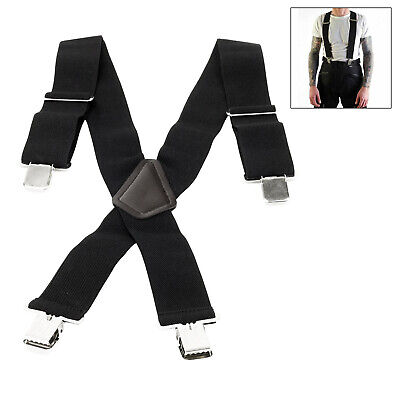 Pair Motorcycle Motorbike Ride Heavy Duty Elasticated Braces For Trousers Black