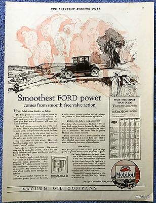 1925 Mobiloil Gargoyle Smoothest Ford Power Smooth Free Valve Action ad