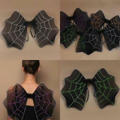Black Halloween Bat Wings With Glitter Spiders Web Detail
