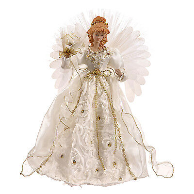 Christmas Tree Toppers - Fiber Optic Angel Tree Topper - White & Gold - 18'h