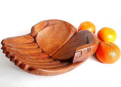 Amazing Quality  Carving  Wooden Hands 20 cm Bowl Home Décor Indonesia Brown
