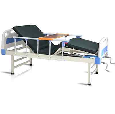 Double-crank Med Multifunction Adjustable Hospital Care Bed w/Mattress Overlay