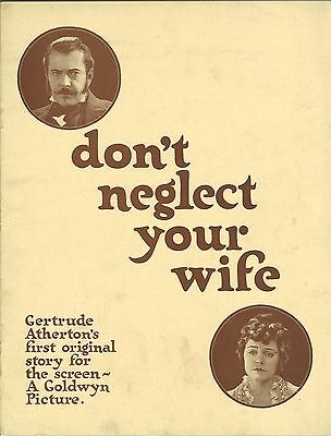 * DON'T NEGLECT YOUR WIFE (1921) Silent Film Pressbook Goldwyn Drama/Romance
