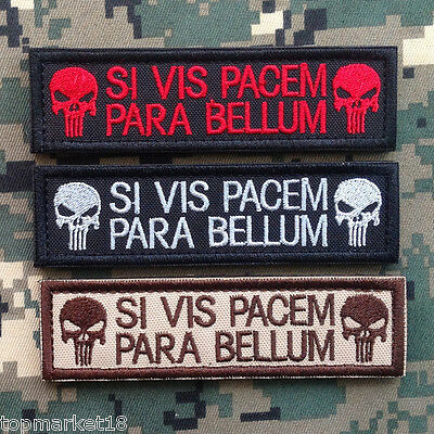 3Pcs Si Vis Pacem Para Bellum Punisher Skull Tab Us Army Swat Morale Hook Patch