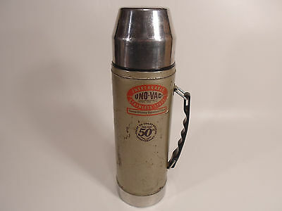 1978 Vintage UNO-VAC 1 Qt Metal THERMOS Thermal Vacuum Bottle STAINLESS STEEL