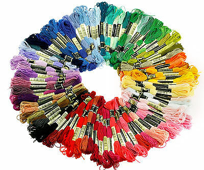 100 Colors Cross Stitch Cotton Embroidery Thread Floss Sewing Skeins Craft DIY