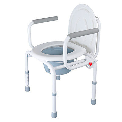 Folding Commode seat Bathroom Toilet chair potty safety 5 Adjustable with Lid