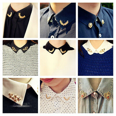 1 Pair Unisex Women Mens Gold Plated Suit Shirt Collar Pin Apparel Brooch Pin