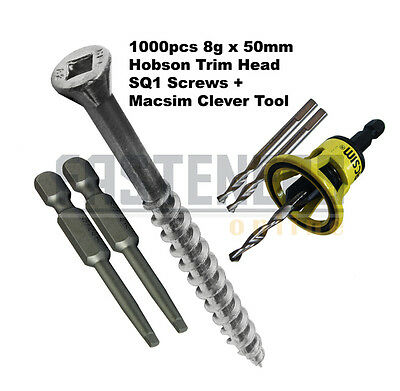 1000pcs - 8g x 50mm Hobson Trim Head Stainless Decking Screws + Clever Tool