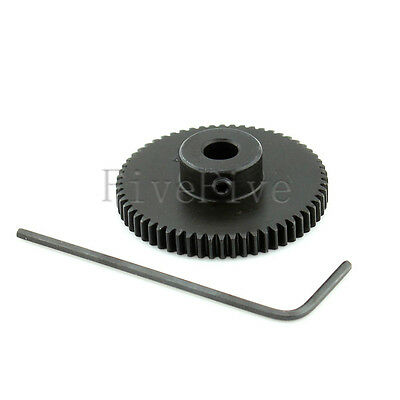 5/6mm Bore Hole 60T Width 4 Module 0.5 Motor Metal Spur Gear + Screws