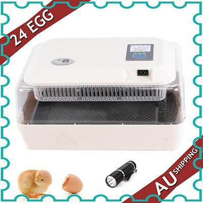 24 Eggs Incubator Closely Monitors Multifunction Lcd Display Chicken Duck Egg