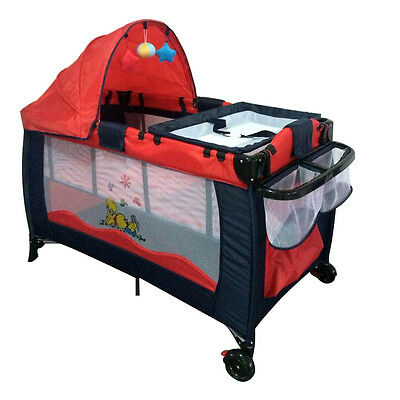 Portable Infant Child Baby Travel Cot Bed Playpen Bassinet with Entryway Red New