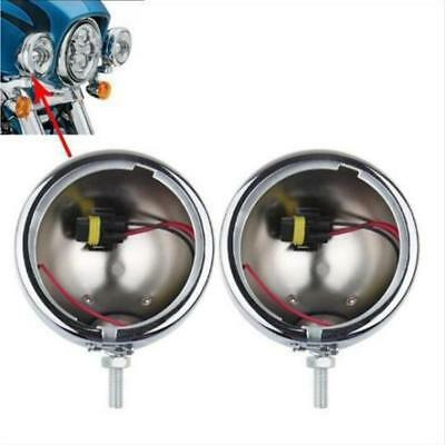 Pair Chrome 4.5'' inch LED Auxiliary Fog Light Outer Cover For Harley Davidson