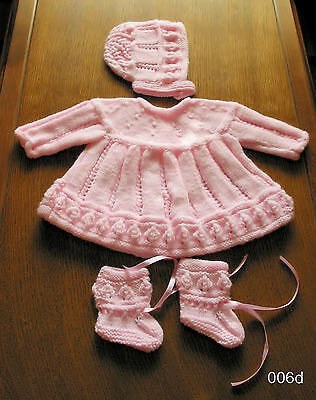 BABY PINK  HAND  KINTTED  DRESS SET 0 to 3 months  DRESS HAT BOOTIES NEW