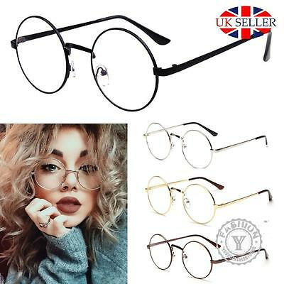 Unisex Big Round Metal Frame Clear lens Vintage Retro Geek Fashion Specs Glasses