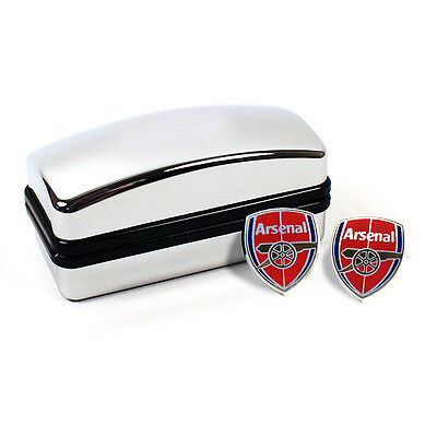 Arsenal Fc Gunners  Crest Cufflinks Cuff Links In Black Boxed New Gift Xmas