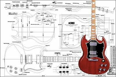 gibson es 175 hollowbody electric acoustic guitar full scale plan gibson sg electric guitar full scale plan