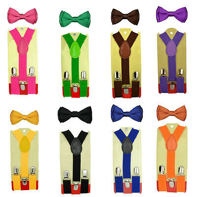 Children Kids Boys Girls Plain Elastic Suspender & Bow tie Matching Set 8 Colors