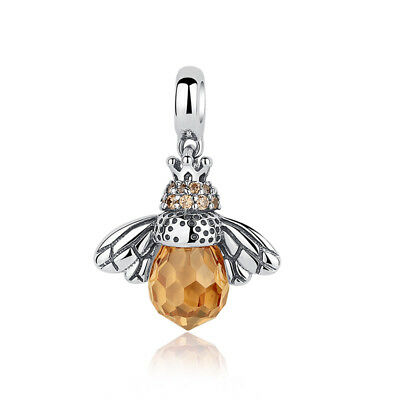 New925 Sterling Silver Honey Bee Yellow Crystal European Bead Charm fit Bracelet