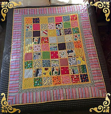 Children's Multi Coloured Handmade Patchwork Quilt And Floormat