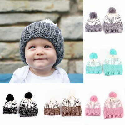 Cute 2Pcs Mother & Child Baby Warm Winter Knit Beanie Pom Hat Crochet Ski Cap